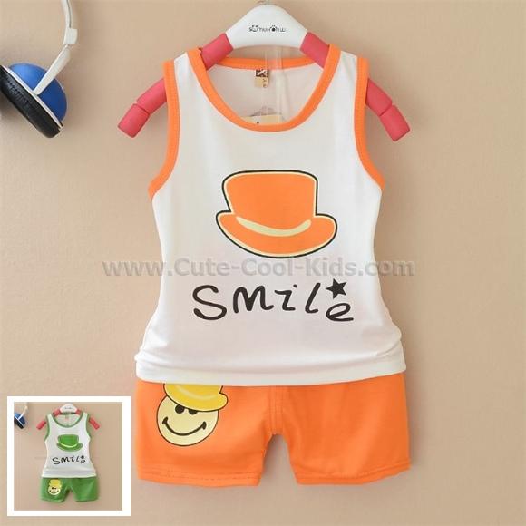 ชุดเสื้อ +กางเกง ลาย Hat สีส้ม