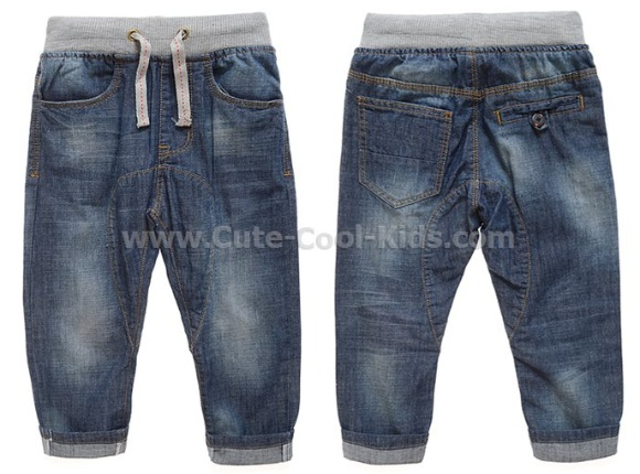 กางเกงยีนส์เด็กขายาวเอวยางยืด