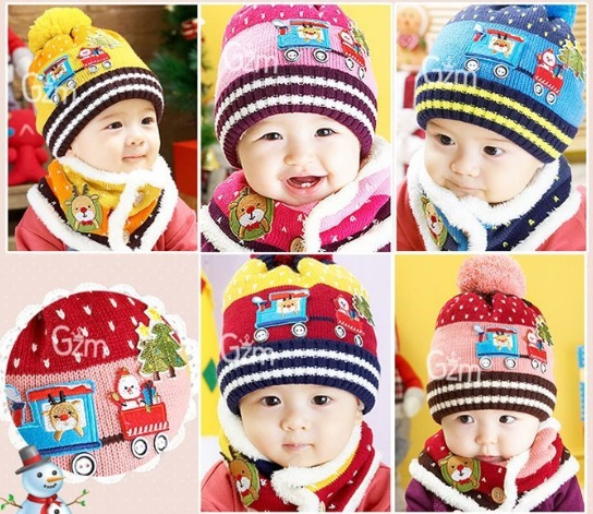 หมวกเด็ก +ผ้าพันคอ Blue น้ำเงิน