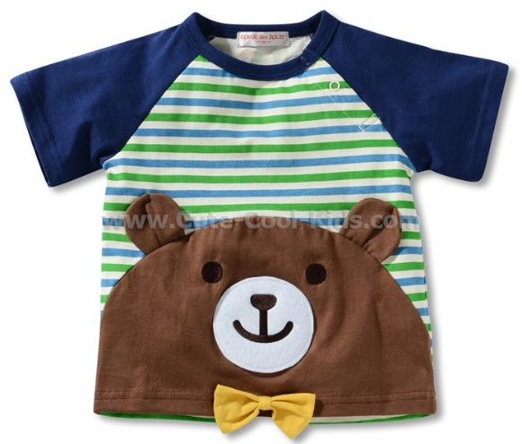 เสื้อยืดแขนสั้นเด็ก สีน้ำเงินลายหมี