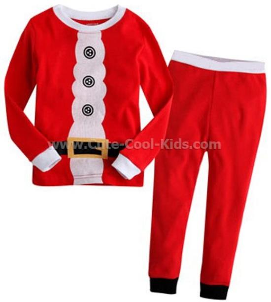 ชุดนอนเด็กแขนยาวขายาว สีแดง Santa 2Y