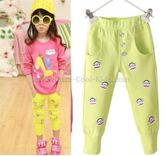 กางเกงขายาวเด็กหญิง สกรีนลายลิง สีเหลือง