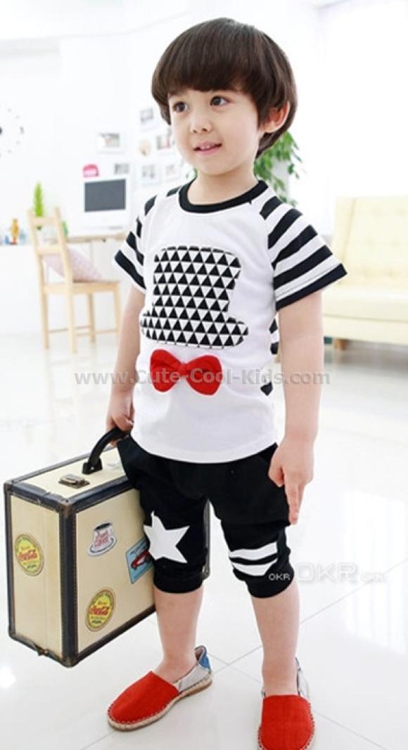 ชุดเสื้อแขนสั้นเด็กแฟชั่นเกาหลี +กางเกง