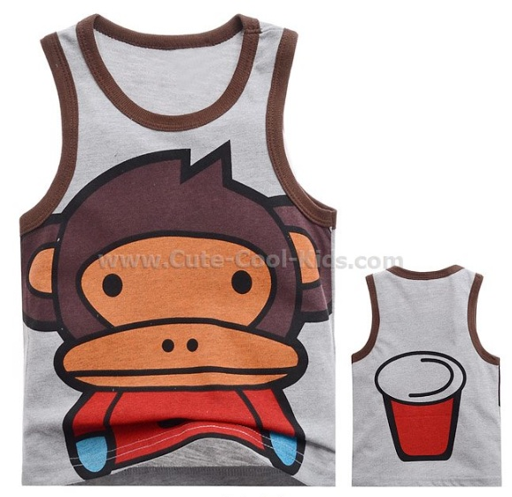 เสื้อกล้ามเด็ก เสื้อแขนกุดเด็ก สีน้ำตาล Baby Milo