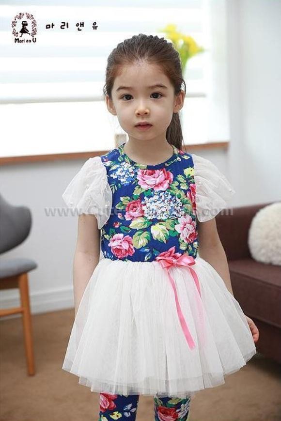 ชุดเดรสเด็กหญิงเกาหลี สีน้ำเงิน