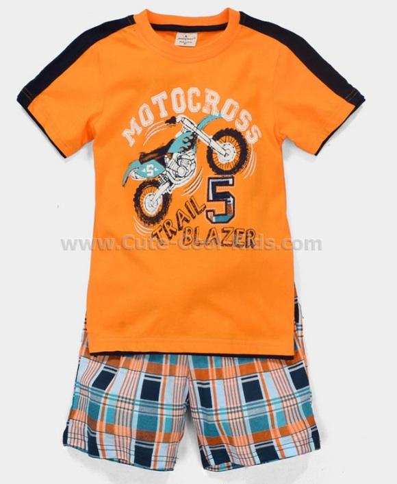 ชุดเสื้อเด็ก+กางเกง สีส้มลายมอเตอร์ไซค์