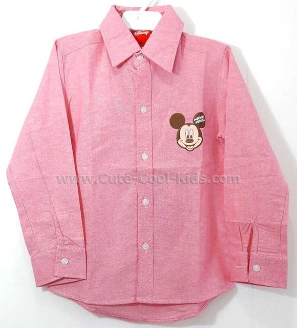 เสื้อเชิ๊ตเด็กชาย Mickey สีแดง ขนาด S* M* L * XL*