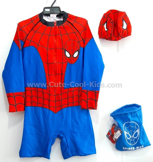 ชุดว่ายน้ำเด็กชาย แฟชั่นการ์ตูน Spiderman XL* XS* S* M* XL* XXL*
