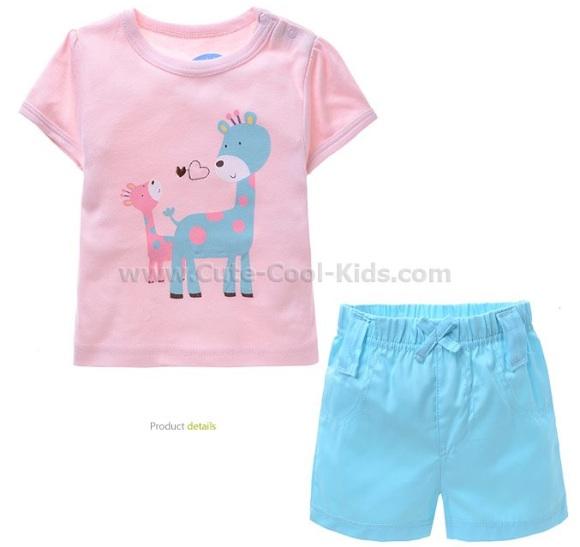 ชุดเสื้อกางเกงเด็ก สีชมพูฟ้าลายยีราฟ = 0-3 เดือน