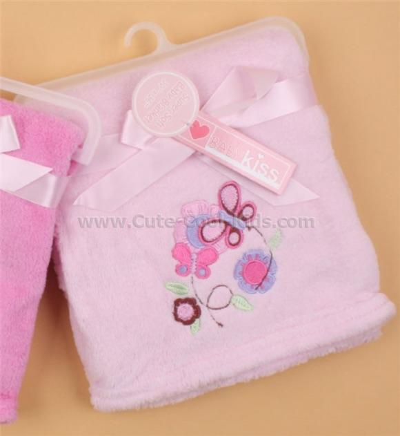 ผ้าห่มเด็กสีชมพู ปักลายผีเสื้อ ผ้าเนื้อนุ่ม ขนาด 76*91cm